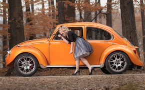 Picture pose, girl, beetle, blonde, car, Volkswagen, autumn