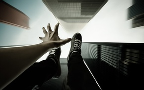 Picture the sky, flight, style, hand, skyscrapers, drop, art, guy, sneakers