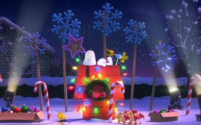 Picture lights, christmas, puppy, bird, dog, flowers, snow, cartoon, cap, friendship, friends, december, cold, spotlights, hana, …