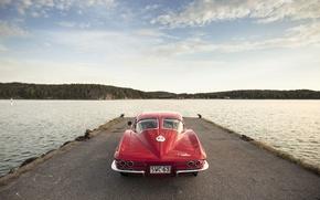Picture lake, Corvette, Chevrolet, pierce, back, Sting Ray, 1963, tail lights