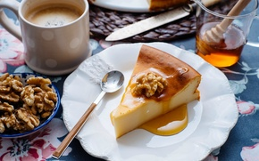 Picture nuts, Cup, dessert, honey, coffee, spoon, pie