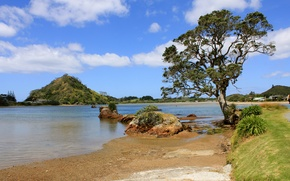 Picture sand, grass, clouds, lake, river, stones, tree, hills