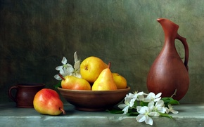 Picture bowl, mug, pitcher, flowers, pear