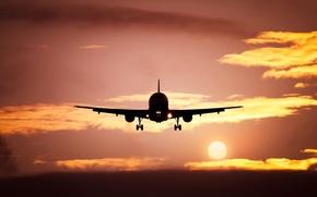 Picture the sun, landscape, sunset, the plane, silhouette
