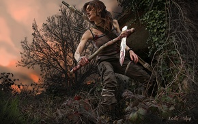 Picture the sky, leaves, girl, trees, sunset, branches, weapons, hair, art, Tomb Raider, Lara Croft, Lara ...