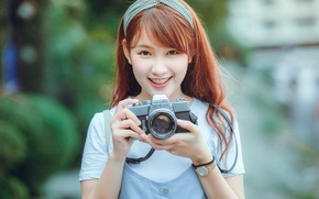 Picture girl, smile, Asian