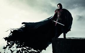 Picture rock, sword, armor, fantasy, vampire, bats, Dracula, Luke Evans, Luke Evans, Dracula Untold, Vlad