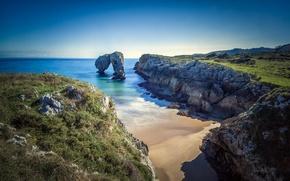 Picture sea, nature, rocks, coast, beach. the ocean