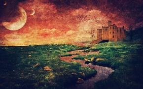 Picture the sun, landscape, style, river, tree, Castle