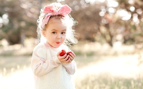 Picture Smile, Children, Strawberry, Girl, Mood, Bow