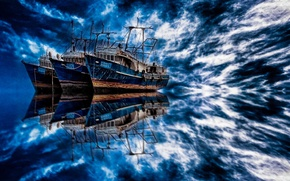 Picture dream, the ocean, dream, boats, ocean, blue, beautiful, blue, beautiful, boat