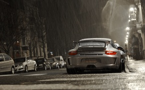 Picture grey, rain, Porsche, Porsche, gt3