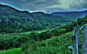 Picture the sky, trees, mountains, HDR, rich, UK, mountain, Snowdonia