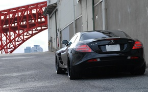 Picture pipe, wall, black, gate, black, Mercedes Benz, SLR McLaren, back, Mercedes Benz, SLR McLaren