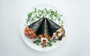 Picture sushi, shrimp, salmon