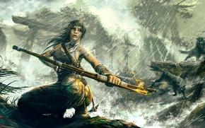 Picture girl, bow, arrow, lara croft, tomb raider, reborn, wolf rain Tomb Raider Reborn