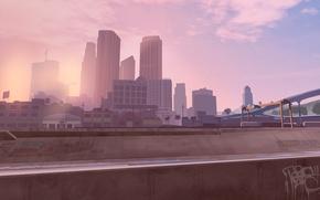 Picture the sky, clouds, bridge, the city, palm trees, graffiti, Windows, building, crane, art, the airship, …