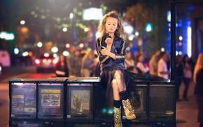 Picture the city, girl, bokeh, Julia Altork