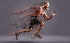 Wallpaper dissipation, running, man