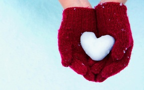 Picture snow, heart, hands, gloves