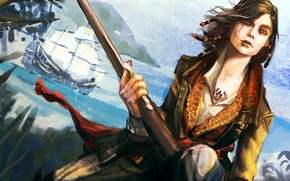 Picture girl, black flag, Mary Reid, Mary Read, assassins creed 4