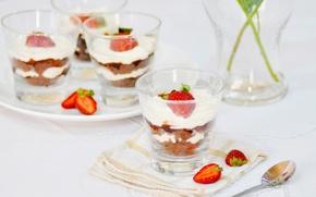 Picture strawberry, cream, dessert, sweet