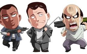 Picture Michael, Michael, Grand Theft Auto V, GTA 5, Franklin, Trevor, Franklin, Trevor, The gun