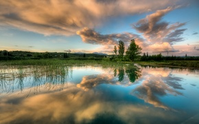 Wallpaper the sky, water, clouds, reflection, trees, lake, spring