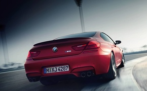 Picture Red, BMW, Turn, BMW, Track, The curb