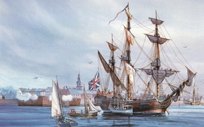 Wallpaper canvas, picture, Fort, oil, rigging, sea, port, boats, sails, waters, three-masted, ship-sailboat, sailors, a pleasure, ...
