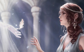 Picture girl, light, decoration, sheet, hand, spirit, fantasy, art