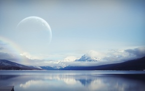 Picture the sky, clouds, mountains, the moon, Water