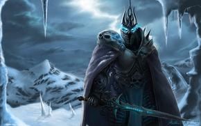 Picture snow, sword, armor, world of warcraft, arthas, lich king, fallen Prince, Arthas Menethil, Lich king, …