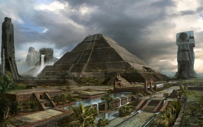 Picture the city, palm trees, art, pyramid, Mayan Civilization