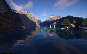 Picture The sky, Water, Mountains, Trees, Landscape, Minecraft