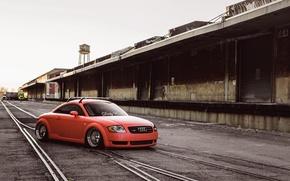 Picture Audi, Orange, Car, Tuning, Stance
