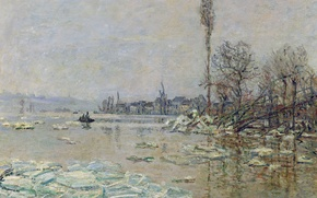 Wallpaper landscape, picture, spring, Claude Monet, The Opening Of The Ice