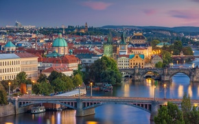 Picture bridge, river, Prague, Czech Republic, panorama, Vltava