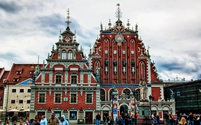 Picture people, home, area, monument, Riga, Latvia