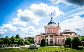 Picture greens, landscape, castle, lions, Ukraine