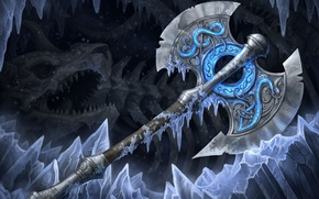 Picture cold, ice, weapons, art, bones, cave, axe, axe