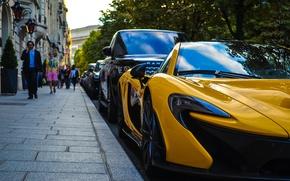 Picture McLaren, Paris, Car, Sunset, Yellow, People, SuperCar