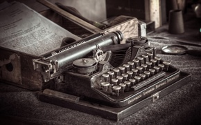 Picture macro, background, old typewriter