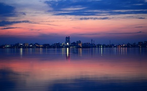 Picture night, the city, lights, lake, reflection, home
