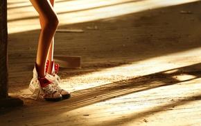 Wallpaper floor, Board, sneakers, feet