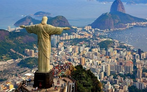 Picture sea, mountain, home, Bay, statue, Brazil, Rio de Janeiro, Christ