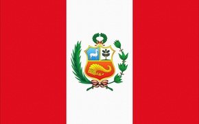 Wallpaper Peru, Peru, Flag, White, Photoshop, Red, Coat of arms