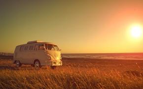 Picture beach, grass, girl, Volkswagen, solar, Volkswagen Transporter