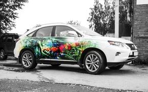 Picture flowers, bright, harp, lexus, airbrushing, floral arrangement, nymph, Muse, drawing on the car, colorful illustration, …