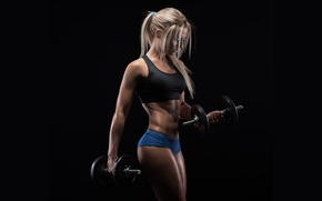 Picture blonde, pose, workout, figure, fitness, muscles, dumbbells